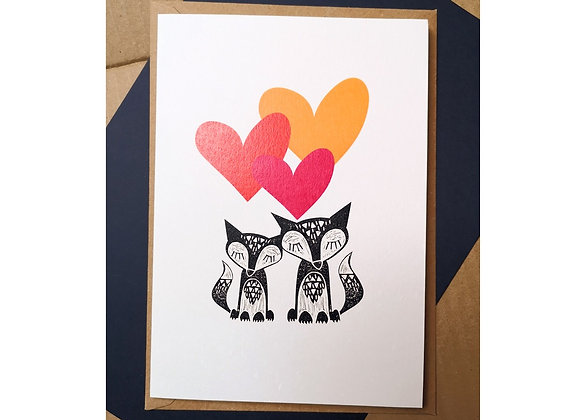Fox Trio Hearts A5 Greetings Card