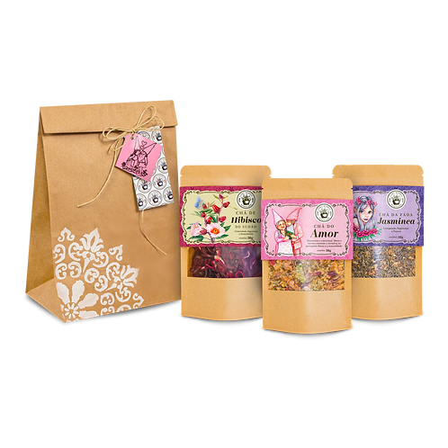 Kit Amor com 3 chás + sacolinha para presente
