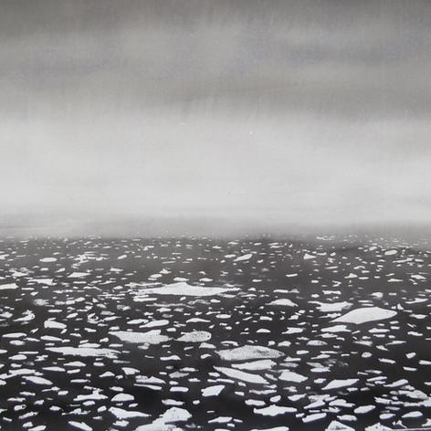 Arctic flight over a charcoal sea, ink o