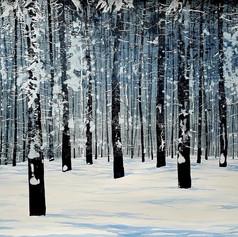 Indigo Light fresh snow, ink on watercol