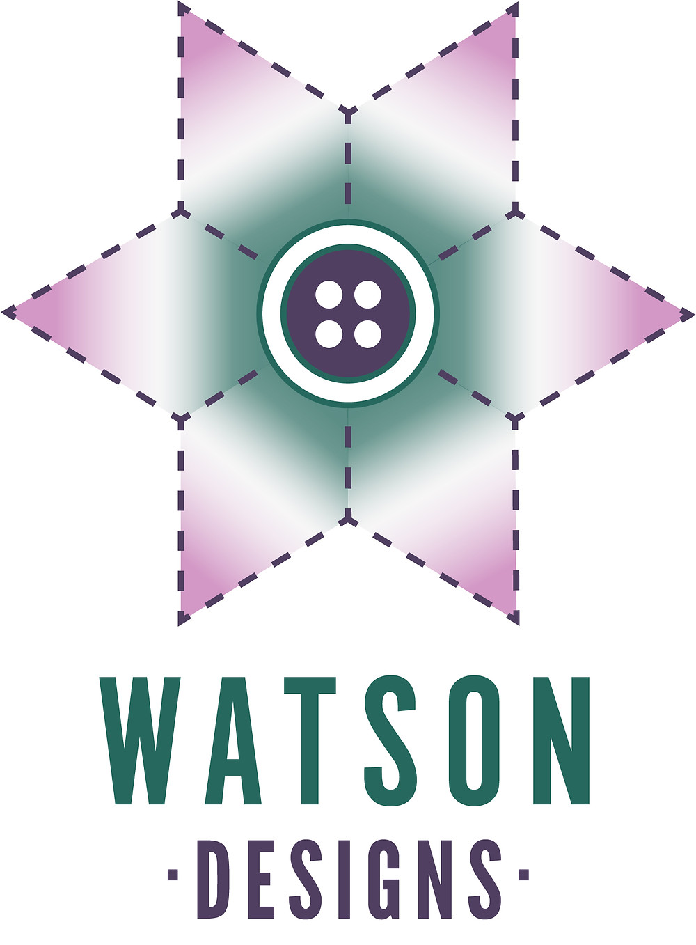 Stitched flower shaped logo with a button for the centre, accompanied with the text 'Watson Designs'