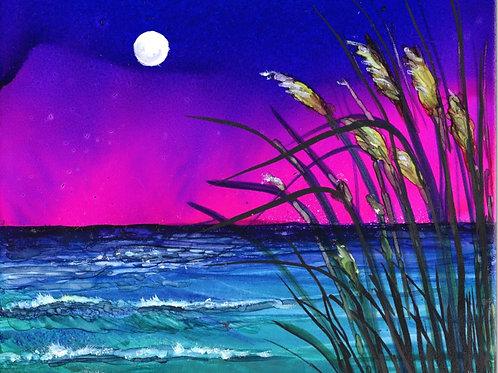 Moonlight Sea Oats Print