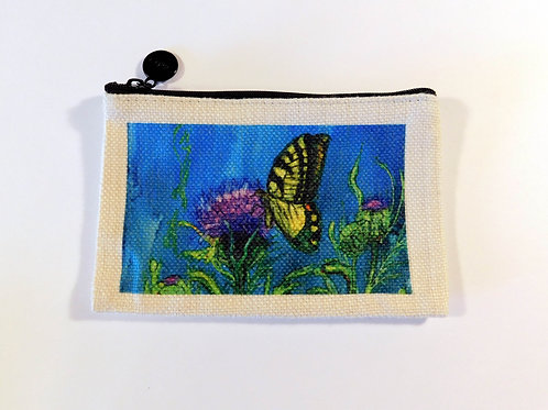 Butterfly and Thistle Coin Bag