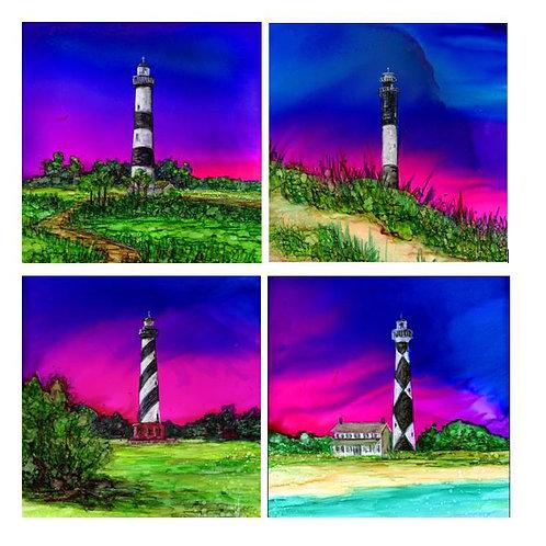 NC Lighthouses Coaster Set