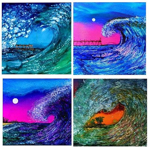 Ocean Waves Coaster Set