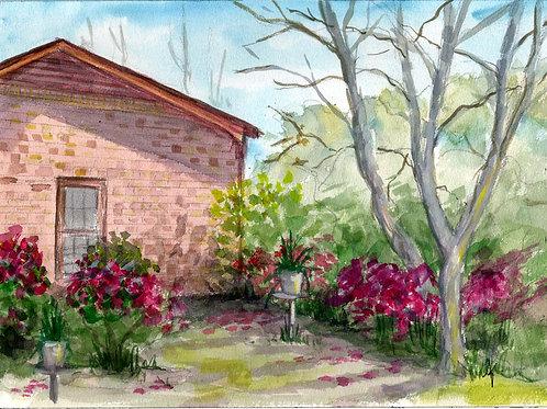 Azaleas and brick house