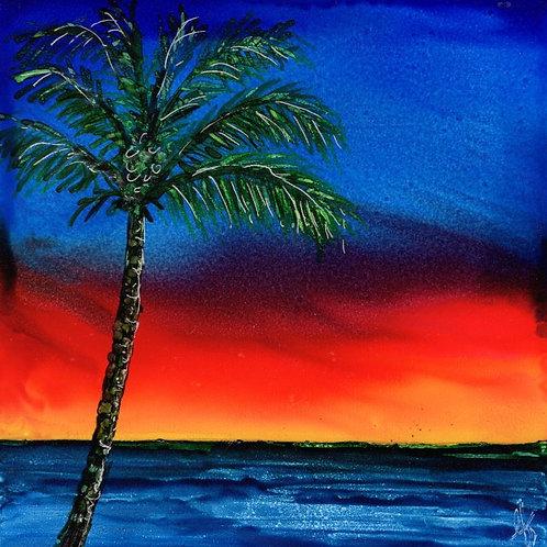 Palm Tree Sunset Trivet