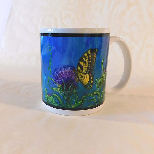 Butterfly and Thistle Mug