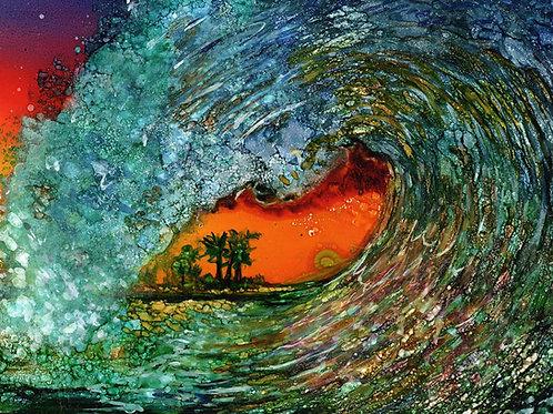 Orange Wave Print