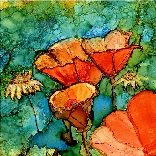 Orange Poppies Trivet