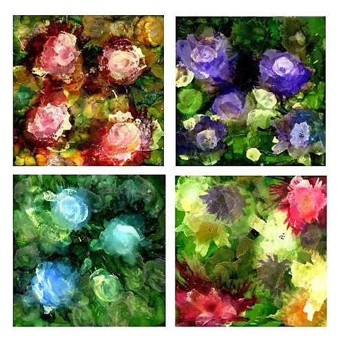 Abstract Flowers Coaster Set