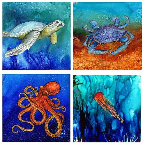 Sea creature 1 coaster set
