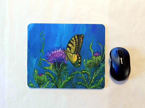 Butterfly and Thistle Mouse Pad