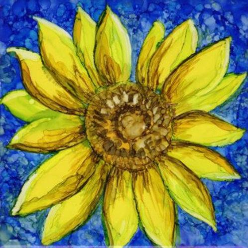 Sunflower- Blue Trivet