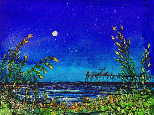 Moonlight Pier Print