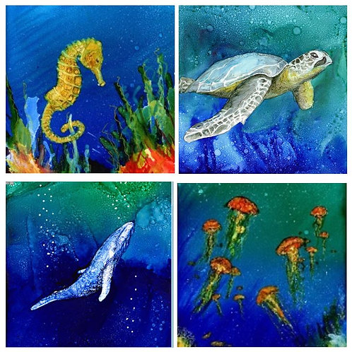 Sea Creatures 2 coaster set