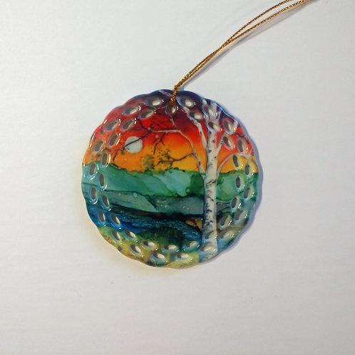 Rainbow Birch Ornament