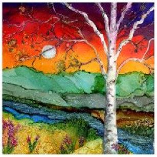 Rainbow Birch Trivet