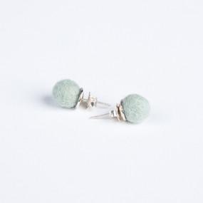 Small mint pom pom & silver stud earrings