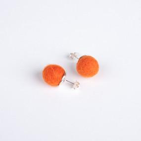 Orange pom pom & siver stud earrings