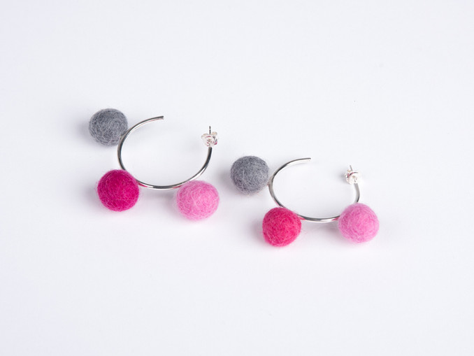 Candy pink, pink & grey pom pom & silver hoop earrings