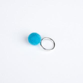 Blue pom pom & silver ring