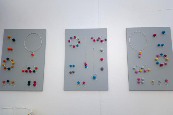 Pom pom collection on display