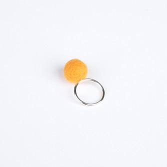 Yellow pom pom & silver ring