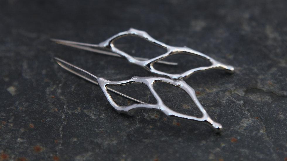 Sterling Silver Double Fragment Drop Earrings