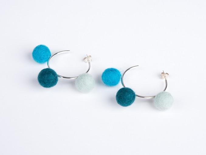 Mint, teal & blue pom pom & silver hoop earrings