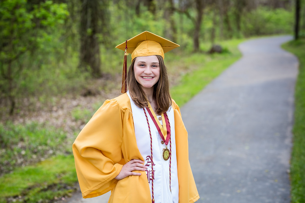 westerville north high school senior in cap and gown graduating