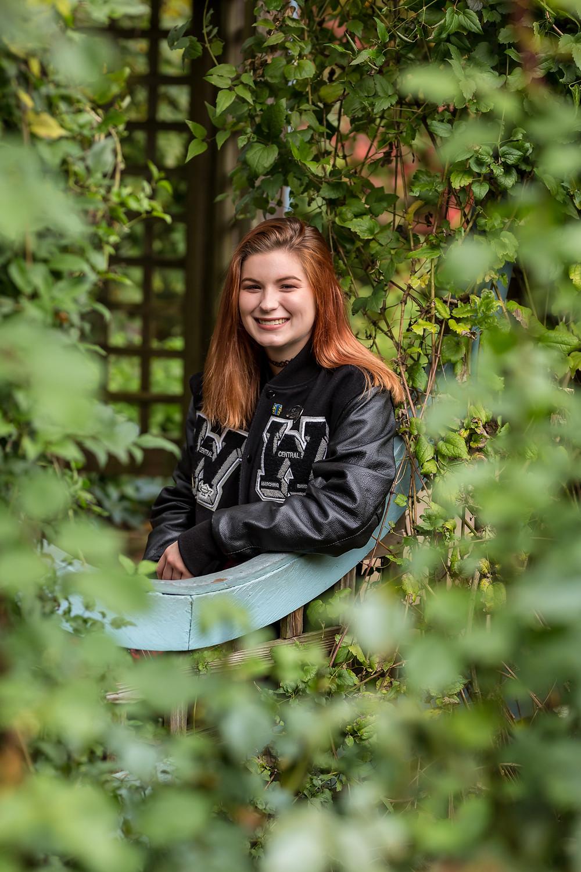 Westerville Senior Photo in Varsity Jacket
