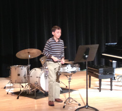 Student performing snare solo