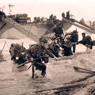 Soldiers on landing craft