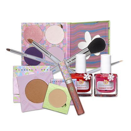 Various PANDORA'S products arranged in a collage, including bronzer, brushes and eyeshadow