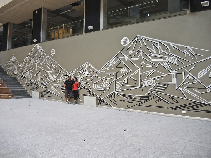 "The atrium wall of AUCA's new campus transformed within the scope of the ""Artystan"" project"