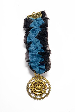 Blue Ruffled Steampunk Medal With Gold Cogs