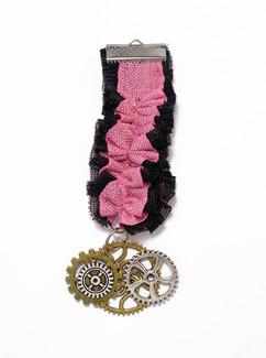 Black Pink Ruffled Steampunk Brass Medal Acessory.jpg
