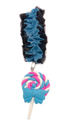Blue and black ruffled medal band with lollypop hanger