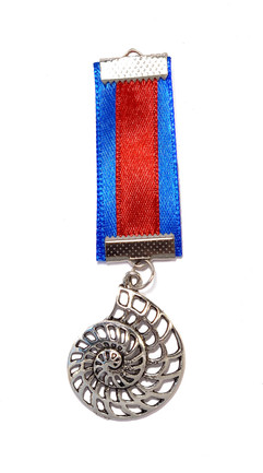 Simple medal with a striped ribon and a shell pendant