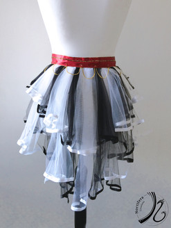 White and Black tulle Bustle