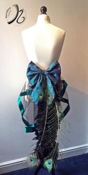 Teal colour shift bow based bustle