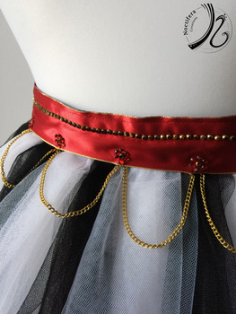 Detail on White and Black tulle Bustle