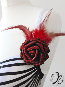 Close up of the red flower strap detail