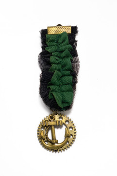 Green and Black Ruffled Steampunk Medal