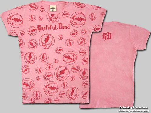 Grateful Dead T-Shirt-Ladies-Lots Of Stealies-Pink-by Not Fade Away