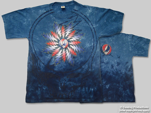 Grateful Dead T-Shirt - All Over Steal Your Face - Blue Dye - by Not Fade Away