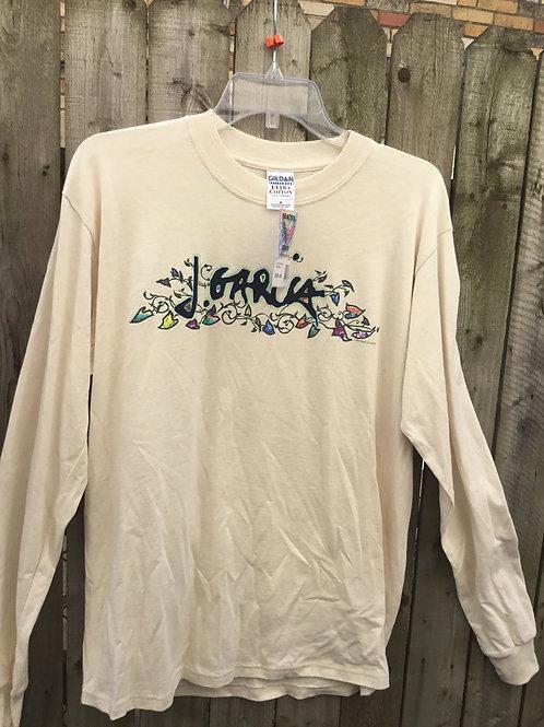 Jerry Garcia-Long Sleeve T-Shirt- Beige- Heavy Cotton - Sale $19.99