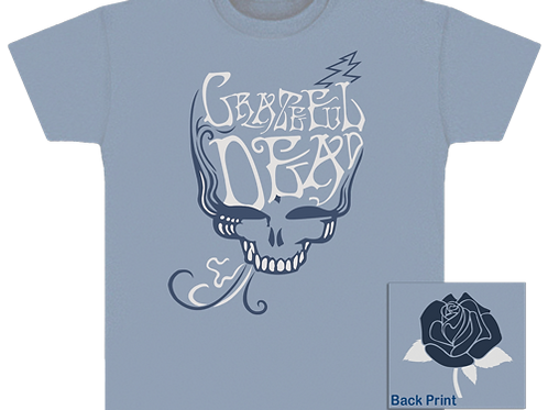 Grateful Dead T-Shirt-Blu Rose Smoke-Light Blue-by Dye The Sky