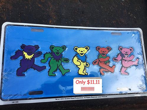 Grateful Dead-Dancing Bears on Blue - Novelty License Plate